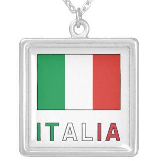 Italia Flag & Word Square Pendant Necklace