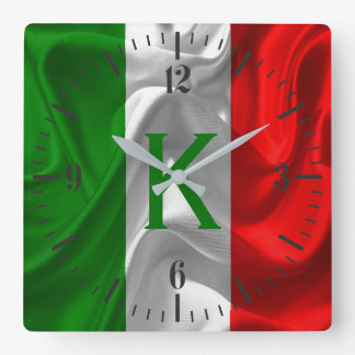 Italia Italiano Italo Flag Fabric Imitation Square Wall Clock