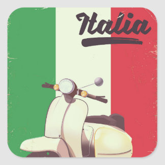 Italia Scooter Vintage travel poster Square Sticker