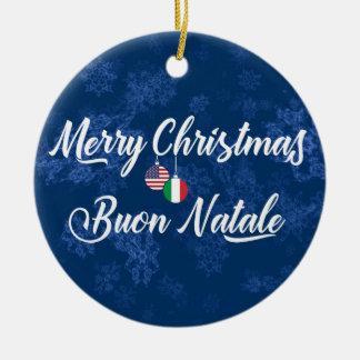 Italian American Holiday Decoration, Buon Natale Ceramic Ornament