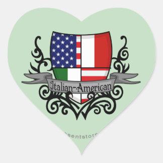 Italian-American Shield Flag Heart Sticker