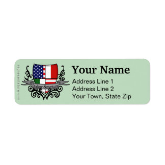Italian-American Shield Flag Return Address Label