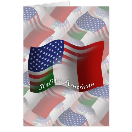Italian-American Waving Flag Greeting Cards