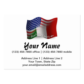 Italian-American Waving Flag Pack Of Chubby Business Cards