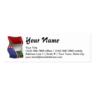 Italian-American Waving Flag Pack Of Skinny Business Cards