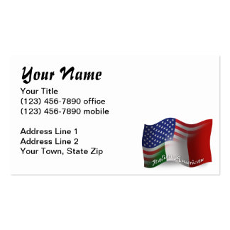 Italian-American Waving Flag Pack Of Standard Business Cards