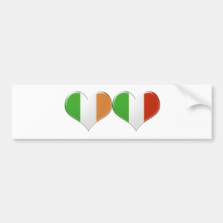Italian and Irish Kissing Heart Flags Bumper Sticker