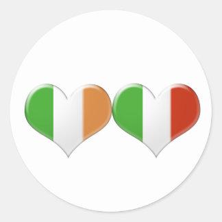 Italian and Irish Kissing Heart Flags Classic Round Sticker