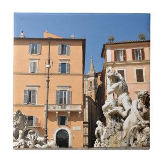 Italian architecture in Piazza Navona,Rome, Italy Tile