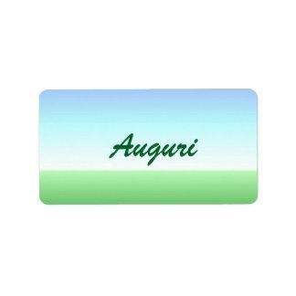 Italian Auguri Green Blue Label Address Label