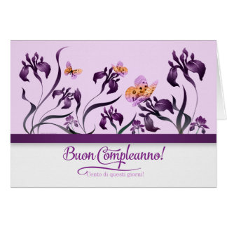Italian Birthday Buon Compleanno! Purple Iris Card