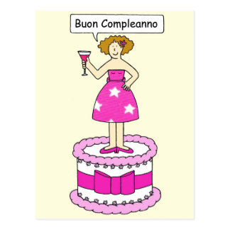 Italian Birthday for her Bon Compleanno. Postcard