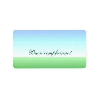 Italian Birthday Green Blue Label Address Label