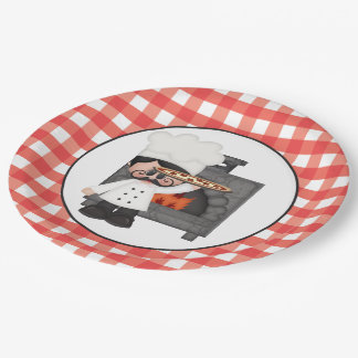 Italian chef Baking Pizza party paper plate