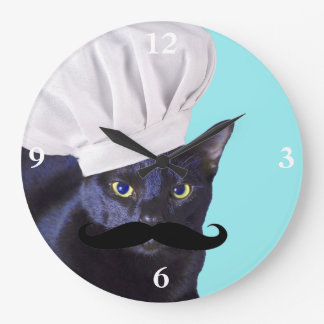 Italian Chef, Black Cat Large Clock