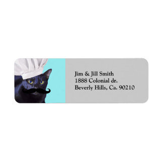 Italian Chef, Black Cat Return Address Label