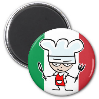 Italian chef fridge magnet with cartoon and flag
