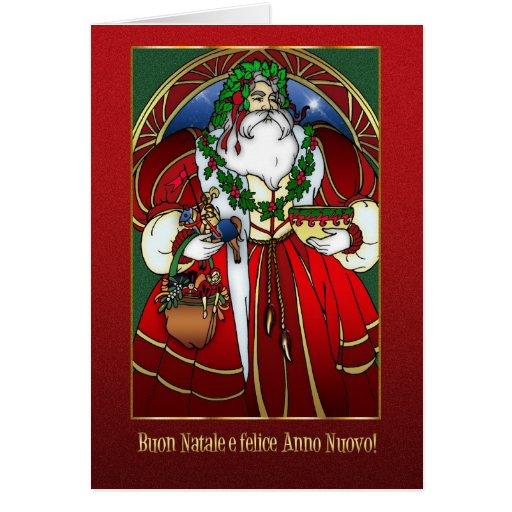 Italian Christmas Card - Santa Claus - Buon Natale