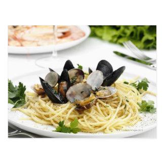 Italian cuisine. Spaghetti alle vongole. Postcard