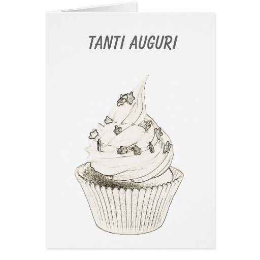 Italian Cupcake Birthday / Tanti Auguri Greeting Cards