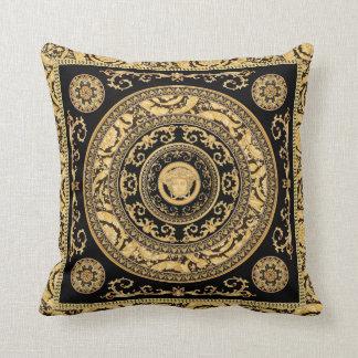 Italian design Medusa, roccoco baroque, black gold Throw Pillow