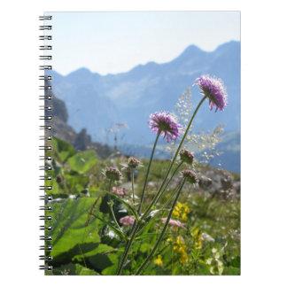 Italian Dolomites landscape . Family on background Notebook