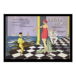 Italian Drink Crema Milk Vintage Poster Posters