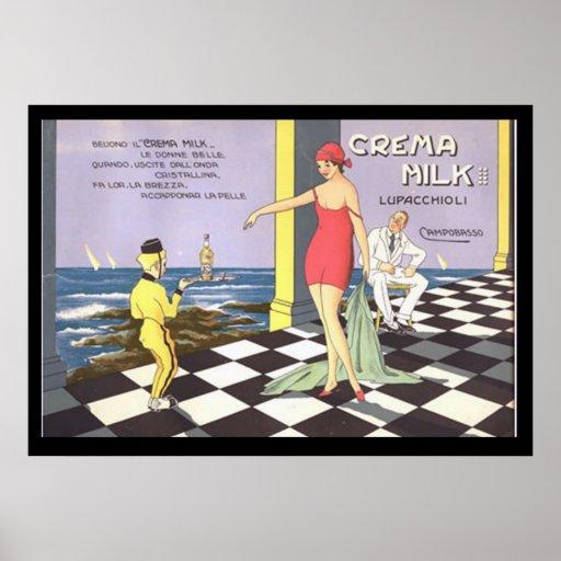 Italian Drink Crema Milk Vintage Poster Posters