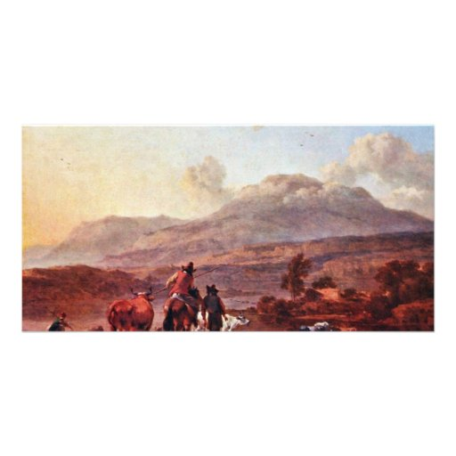 Italian Evening Landscape By Berchem Nicolaes Custom Photo Card