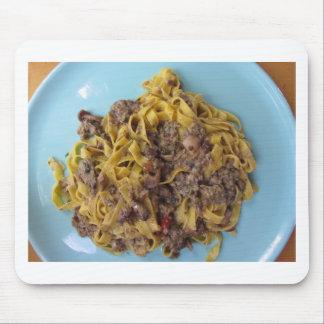 Italian fettuccine pasta with porcini mushrooms mouse pad