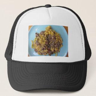 Italian fettuccine pasta with porcini mushrooms trucker hat