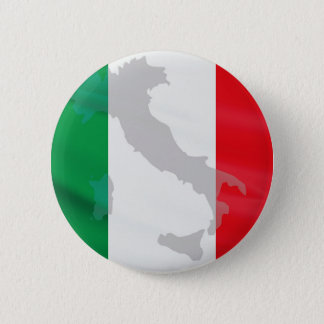 italian flag and Italy 6 Cm Round Badge