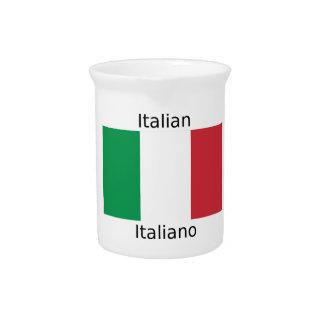 Italian Flag And Italy Language Design Pitcher