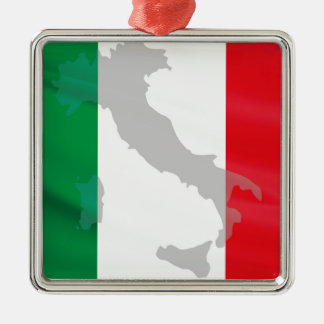 italian flag and Italy Metal Ornament