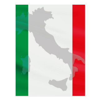 italian flag and Italy Postcard