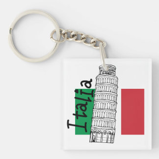 Italian Flag and Leaning Tower of Pisa Single-Sided Square Acrylic Key Ring