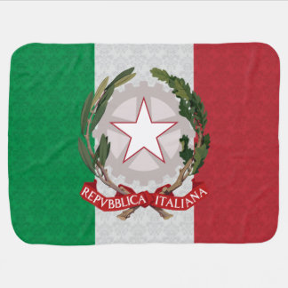 Italian Flag Coat of Arms Damask Pattern Receiving Blanket