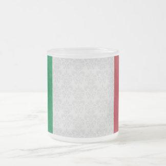 Italian Flag Damask Pattern Frosted Glass Mug