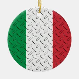 Italian Flag Diamond Plate Ornament
