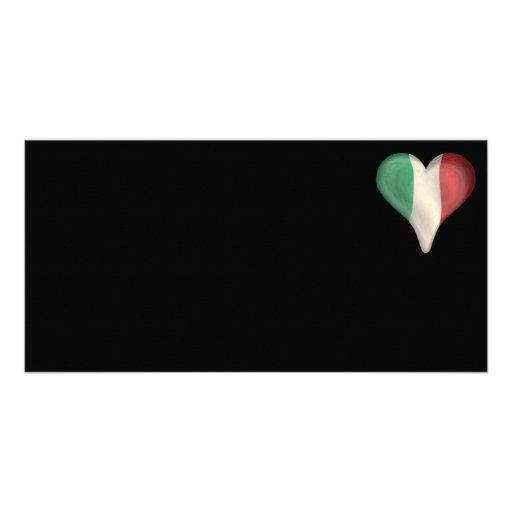 Italian Flag In A Heart Photo Cards