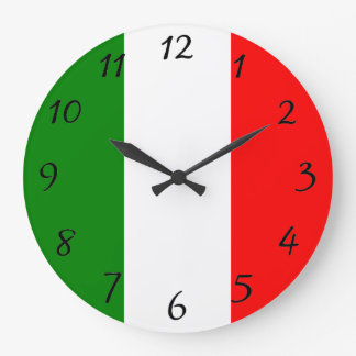 Italian Flag of Italy Bandiera d'Italia Tricolore Wall Clocks