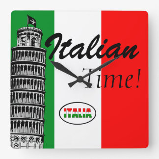 Italian-Flag of Italy Square Wall Clock