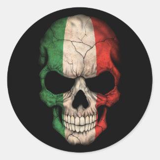 Italian Flag Skull on Black Round Stickers
