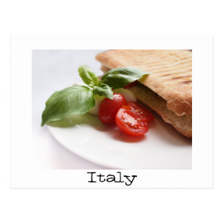 Italian food text postcard