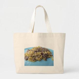 Italian fresh fettuccine or tagliatelle pasta large tote bag