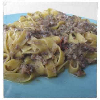 Italian fresh fettuccine or tagliatelle pasta napkin