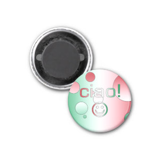 Italian Gifts : Hello / Ciao + Smiley Face 3 Cm Round Magnet