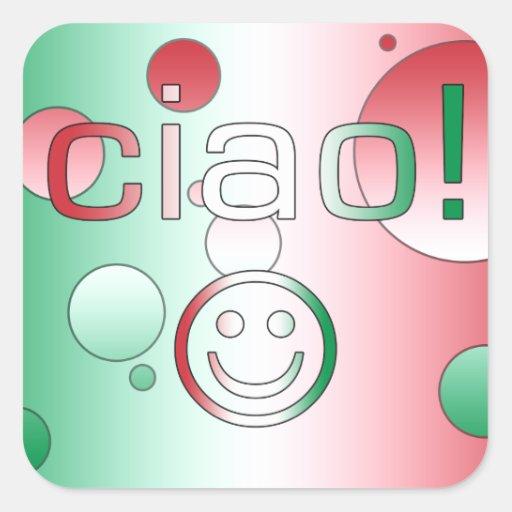 Italian Gifts : Hello / Ciao + Smiley Face Square Sticker