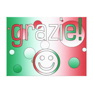 Italian Gifts Thank You Grazie + Smiley Face Gallery Wrapped Canvas