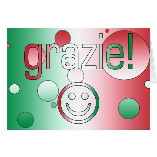 Italian Gifts : Thank You / Grazie + Smiley Face Card